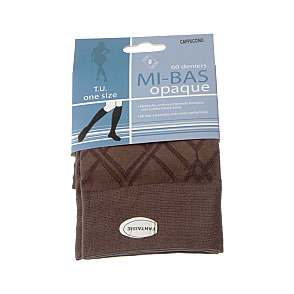 Mi bas opaque - maille fantaisie - bord confortable