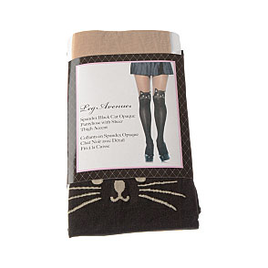 Collant opaque - cuisses transparentes - motif chat noir