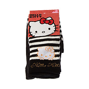 Collant coton - motif tête hello kitty et rayures