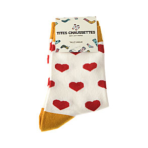 Chaussette multi coeur rouge