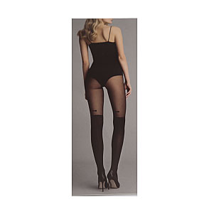 Collants effet bas motif noeud papillon