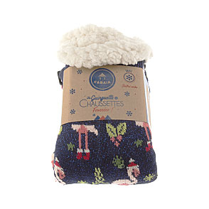 Chaussettes chaussons flamant rose Noel Tropical