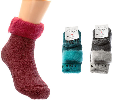 Chaussettes chaussons laine - antidérapant - revers fourrure Femme, Fille Perrin